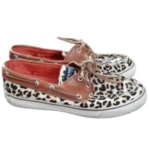 Sperry Top Sider Leopard print calf hair slip on